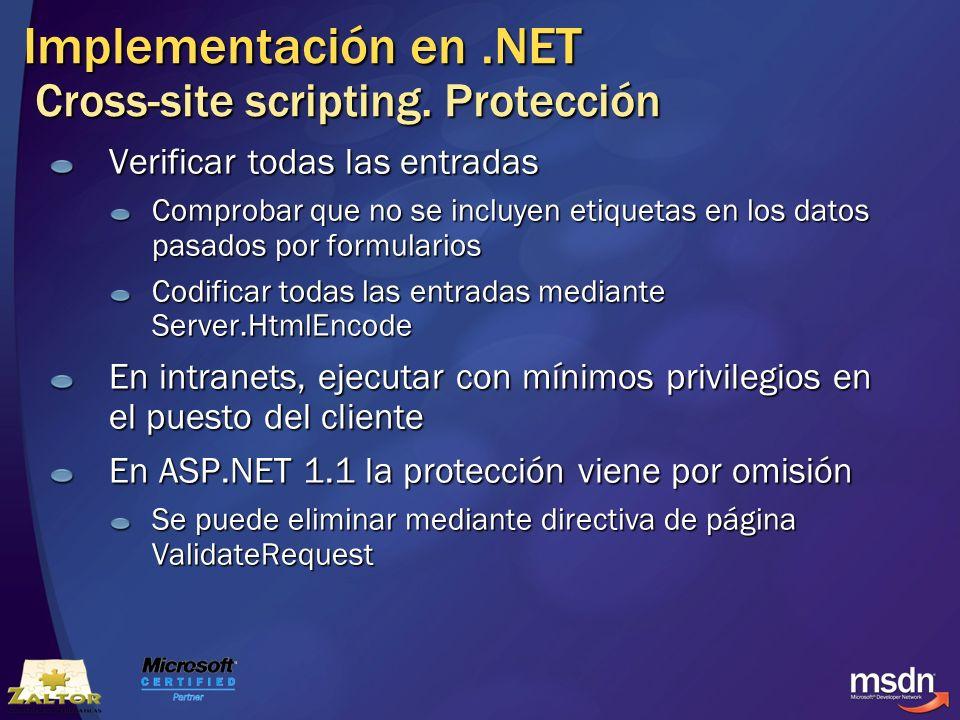 Implementación en .NET Cross-site scripting. Protección