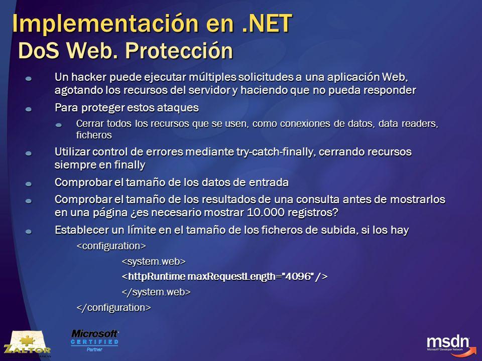 Implementación en .NET DoS Web. Protección