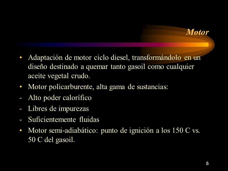 Motor Adaptación de motor ciclo diesel, transformándolo en un diseño destinado a quemar tanto gasoil como cualquier aceite vegetal crudo.