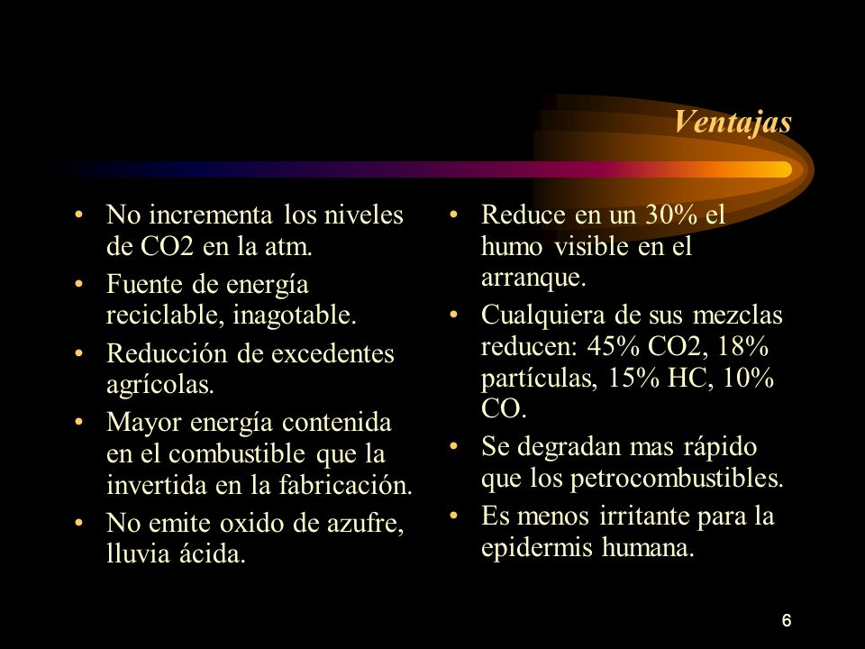 Ventajas No incrementa los niveles de CO2 en la atm.