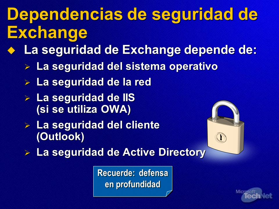 Dependencias de seguridad de Exchange
