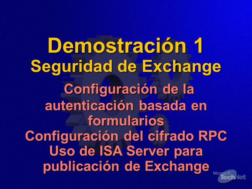Demostración 1 Seguridad de Exchange Configuración de la autenticación basada en formularios Configuración del cifrado RPC Uso de ISA Server para publicación de Exchange