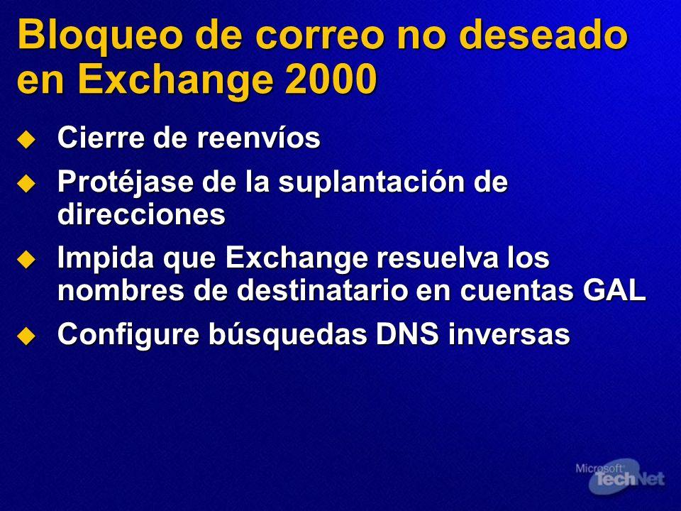 Bloqueo de correo no deseado en Exchange 2000