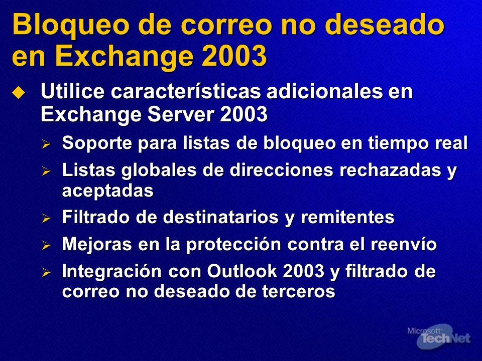 Bloqueo de correo no deseado en Exchange 2003