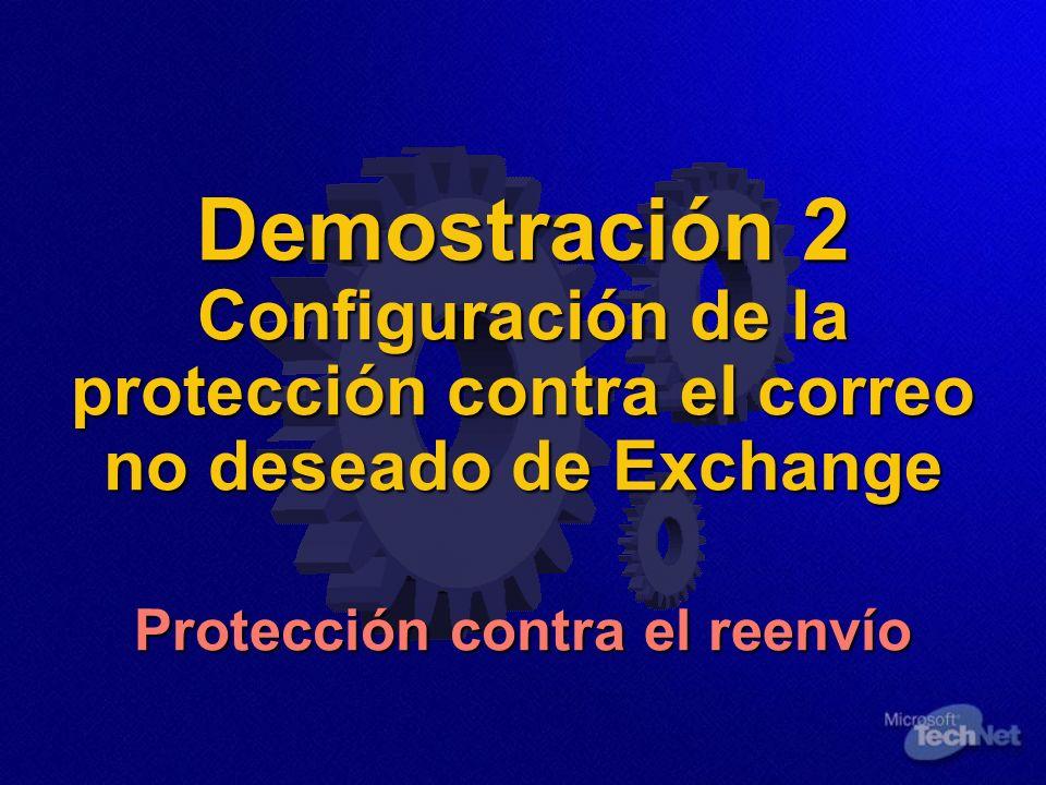 Demostración 2 Configuración de la protección contra el correo no deseado de Exchange Protección contra el reenvío