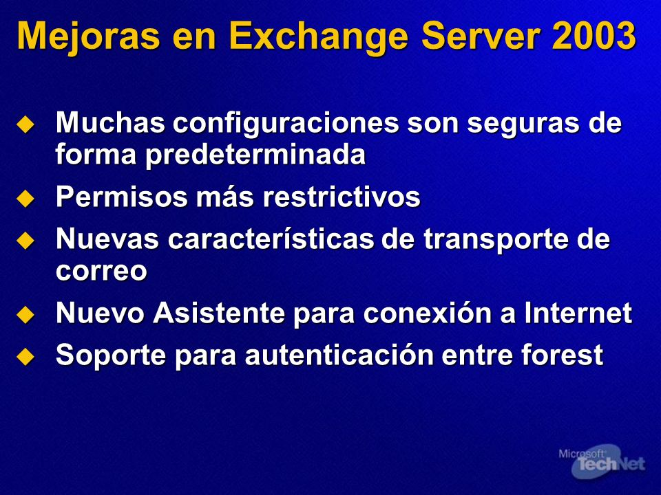 Mejoras en Exchange Server 2003