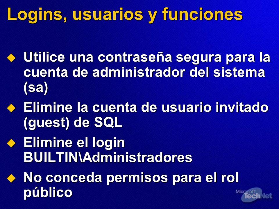 Logins, usuarios y funciones
