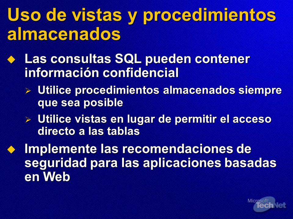 Uso de vistas y procedimientos almacenados