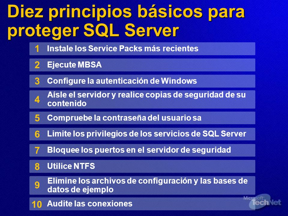 Diez principios básicos para proteger SQL Server