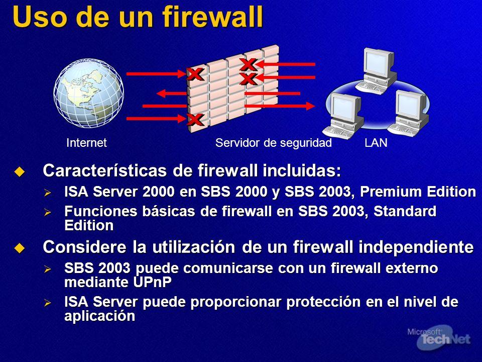 Uso de un firewall Características de firewall incluidas: