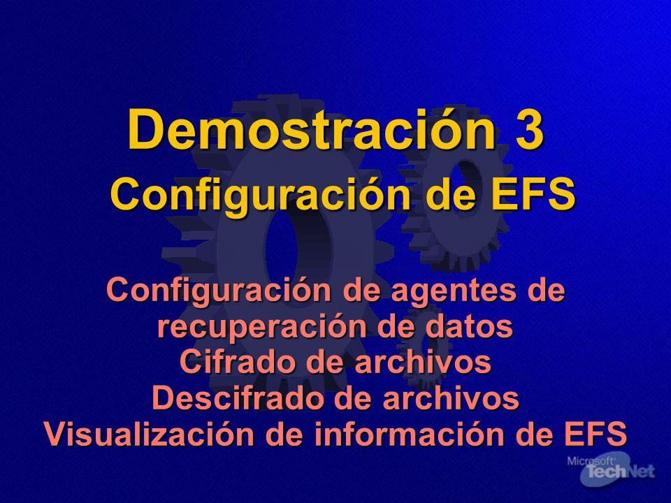 Demostración 3 Configuración de EFS Configuración de agentes de recuperación de datos Cifrado de archivos Descifrado de archivos Visualización de información de EFS