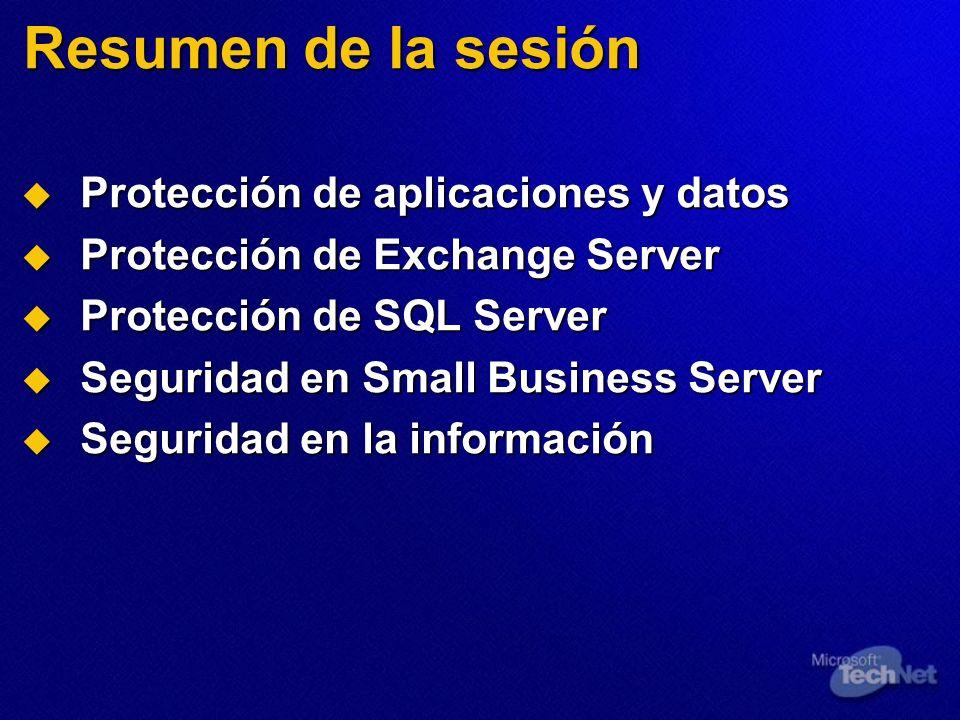 Resumen de la sesión Protección de aplicaciones y datos