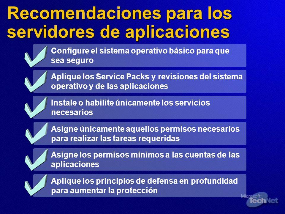 Recomendaciones para los servidores de aplicaciones