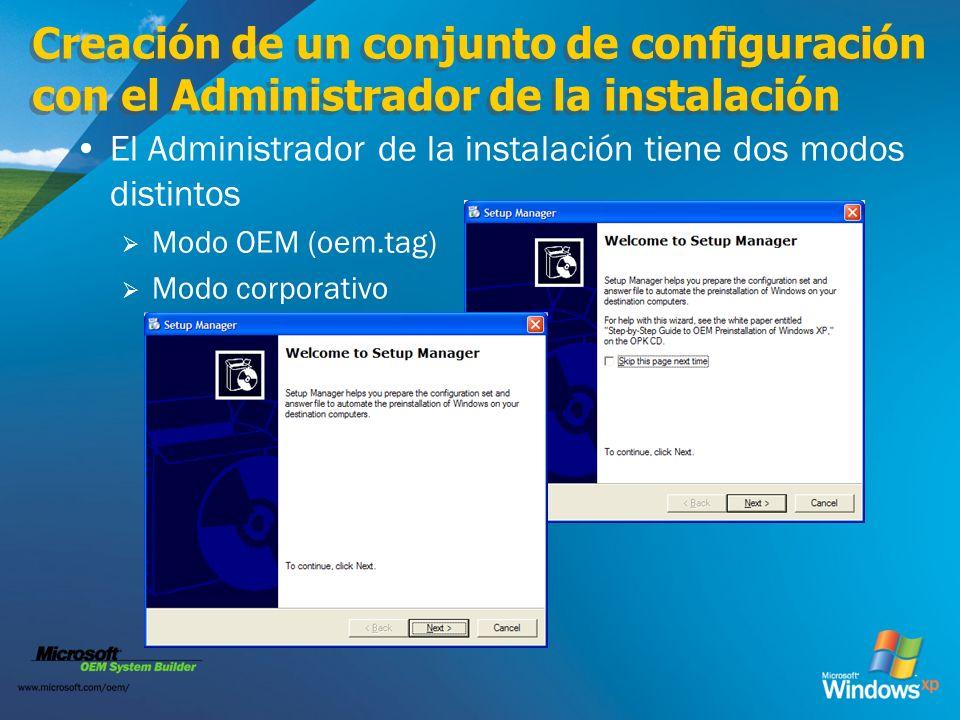 Creación de un conjunto de configuración con el Administrador de la instalación