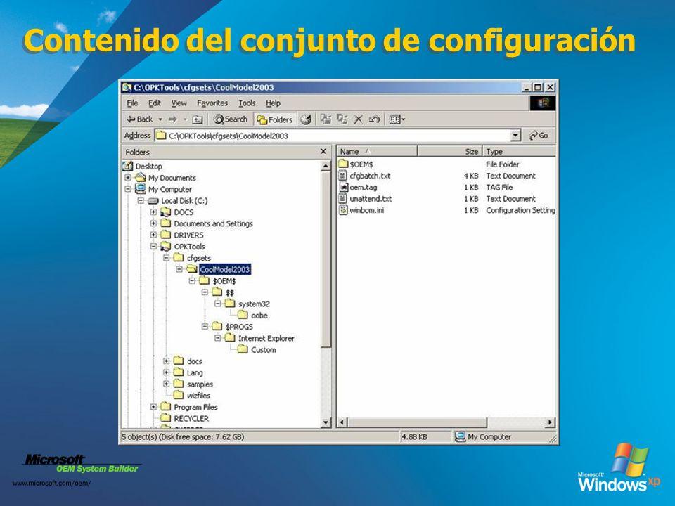 Contenido del conjunto de configuración