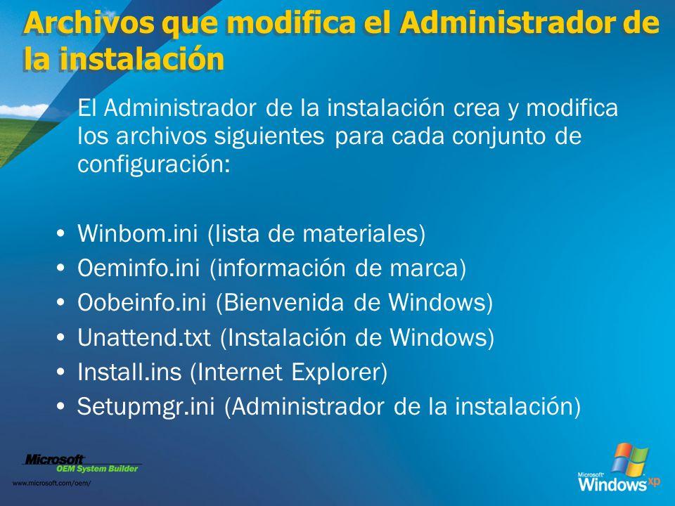 Archivos que modifica el Administrador de la instalación
