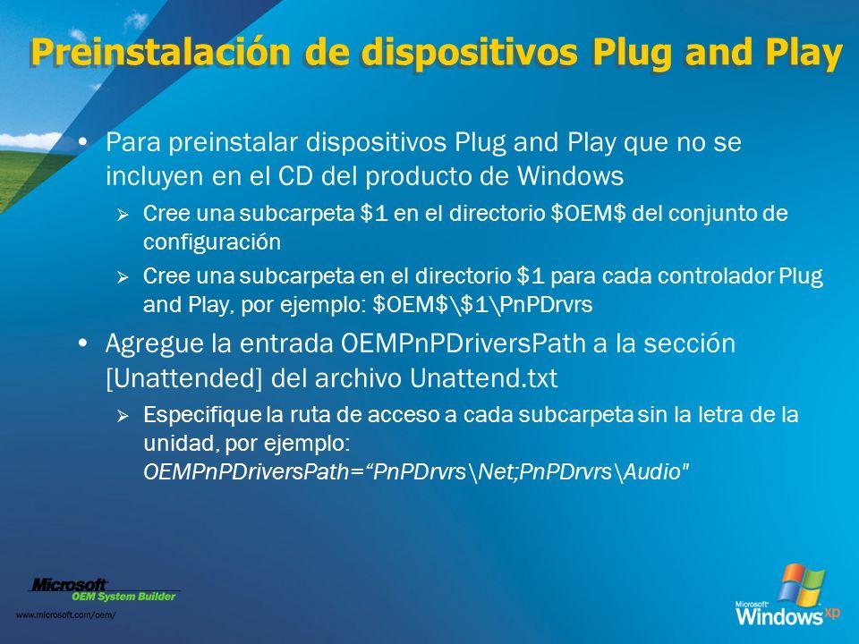 Preinstalación de dispositivos Plug and Play