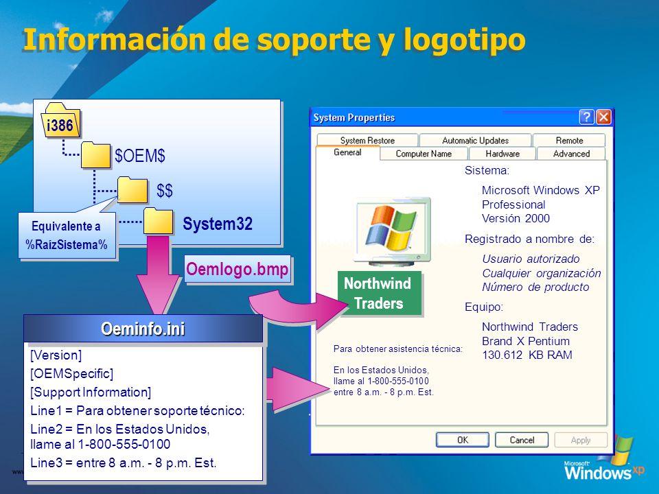 Información de soporte y logotipo
