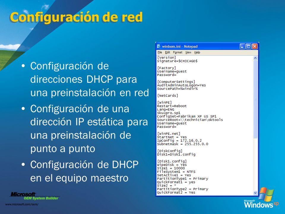 Configuración de red Configuración de direcciones DHCP para una preinstalación en red.