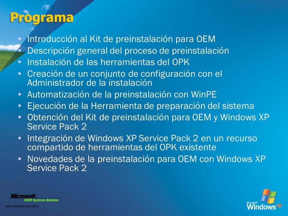 Programa Introducción al Kit de preinstalación para OEM