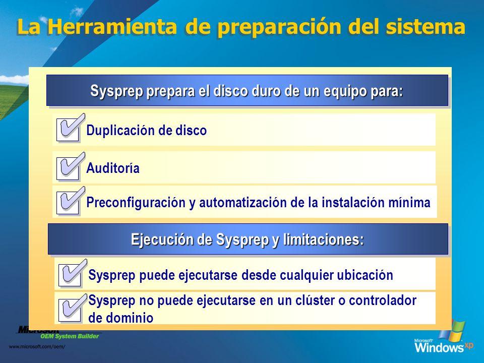 La Herramienta de preparación del sistema