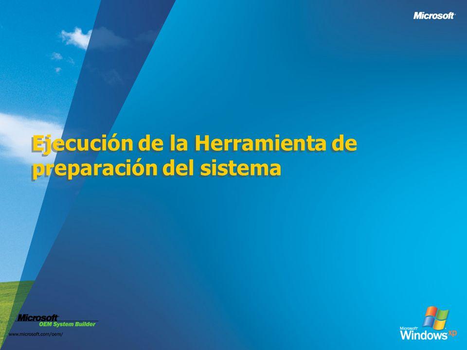Ejecución de la Herramienta de preparación del sistema