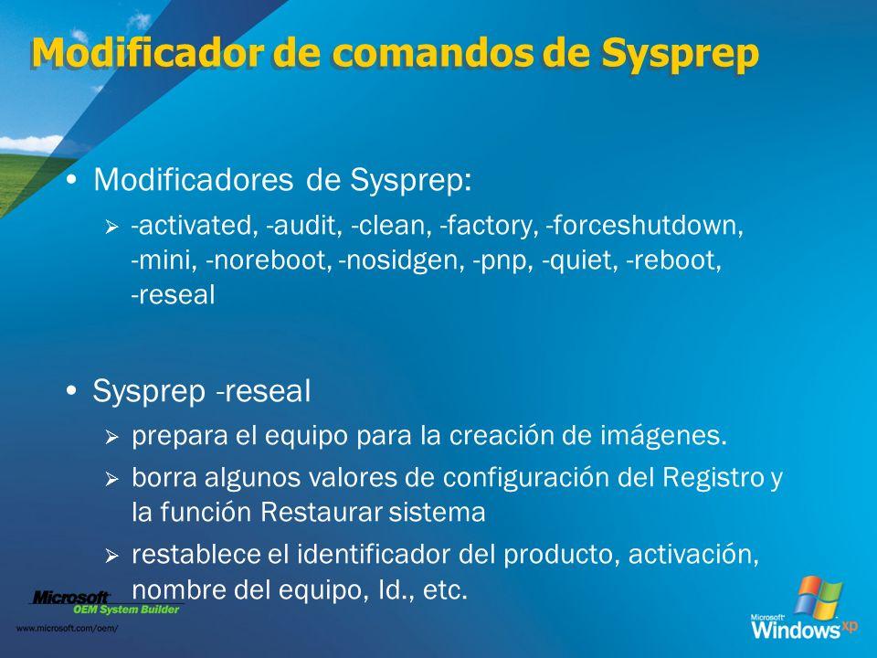 Modificador de comandos de Sysprep