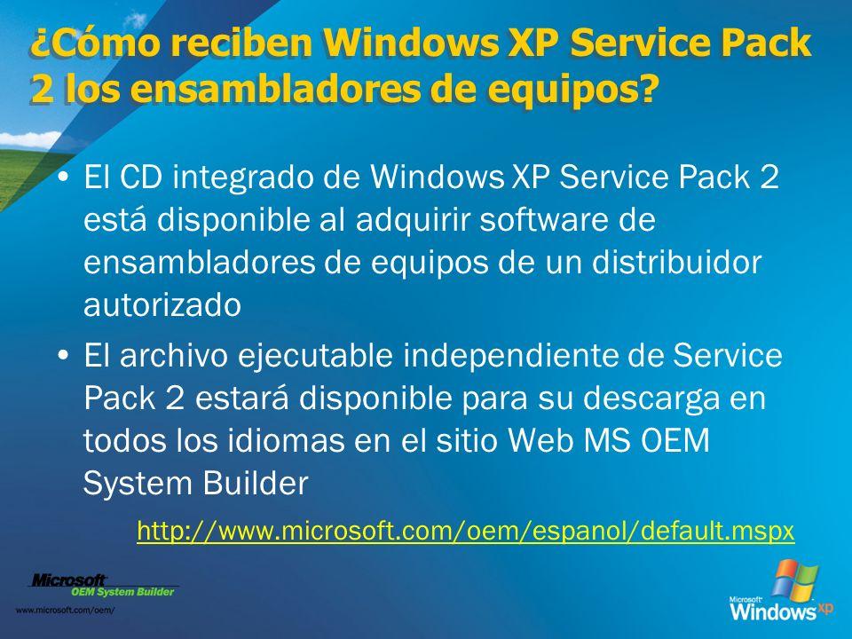 ¿Cómo reciben Windows XP Service Pack 2 los ensambladores de equipos