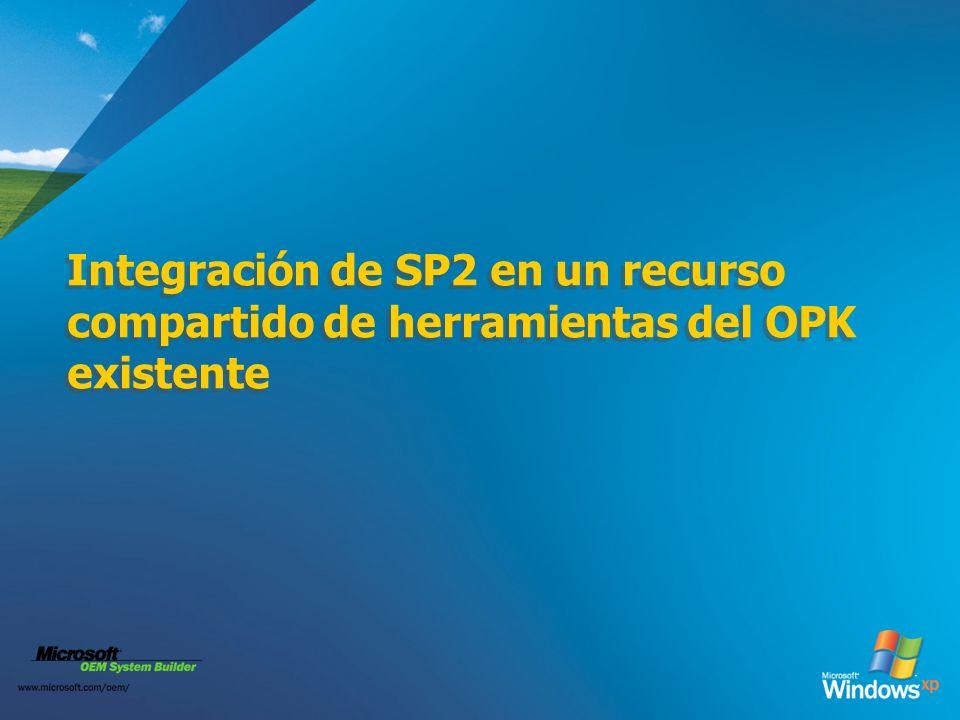 Integración de SP2 en un recurso compartido de herramientas del OPK existente