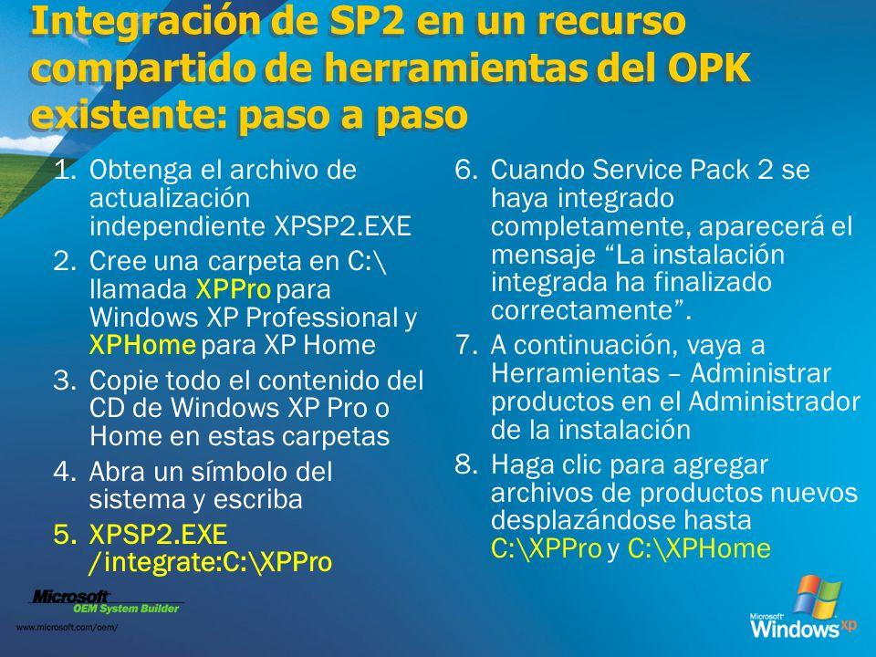 Integración de SP2 en un recurso compartido de herramientas del OPK existente: paso a paso
