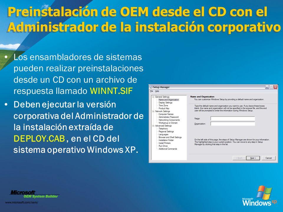 Preinstalación de OEM desde el CD con el Administrador de la instalación corporativo