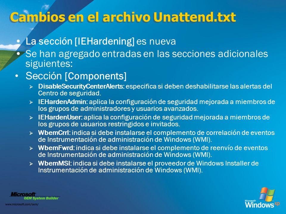 Cambios en el archivo Unattend.txt