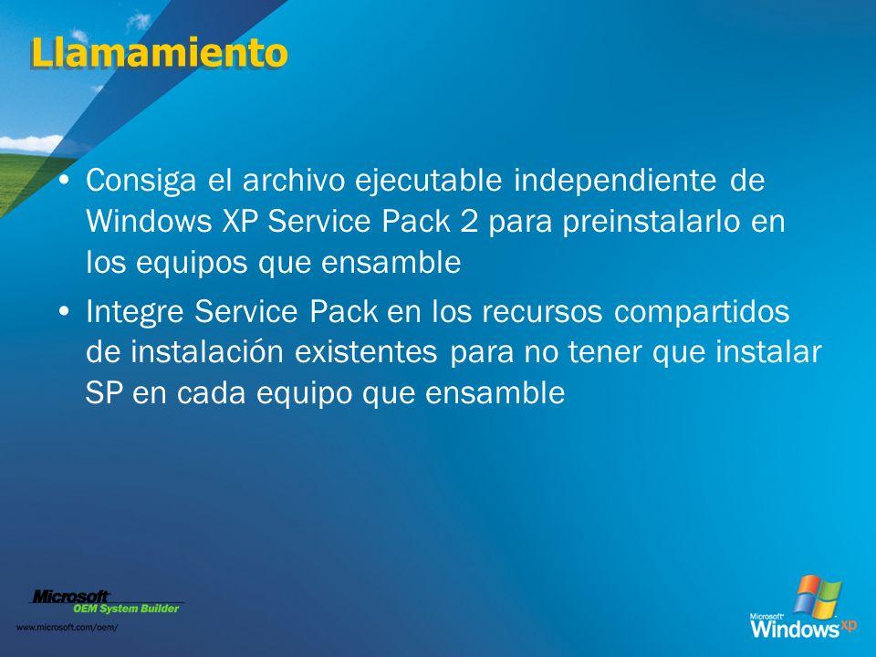 Llamamiento Consiga el archivo ejecutable independiente de Windows XP Service Pack 2 para preinstalarlo en los equipos que ensamble.