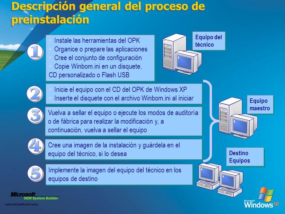 Descripción general del proceso de preinstalación