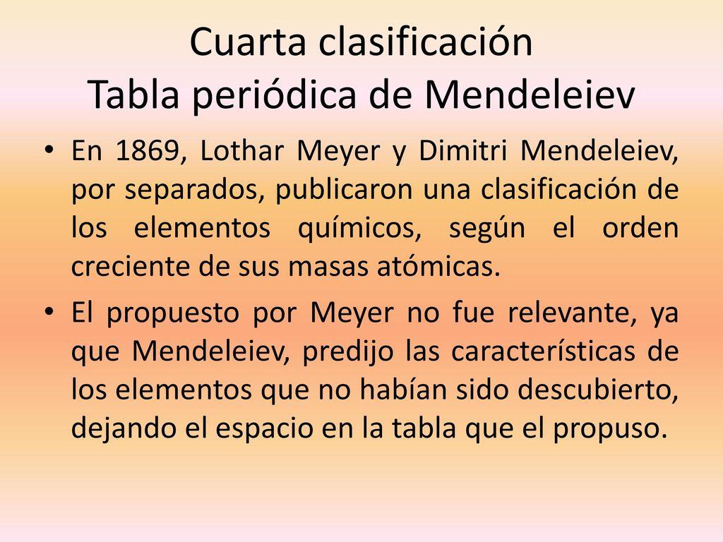 Tabla periodica y propiedades periodicas ppt descargar cuarta clasificacin tabla peridica de mendeleiev urtaz Choice Image