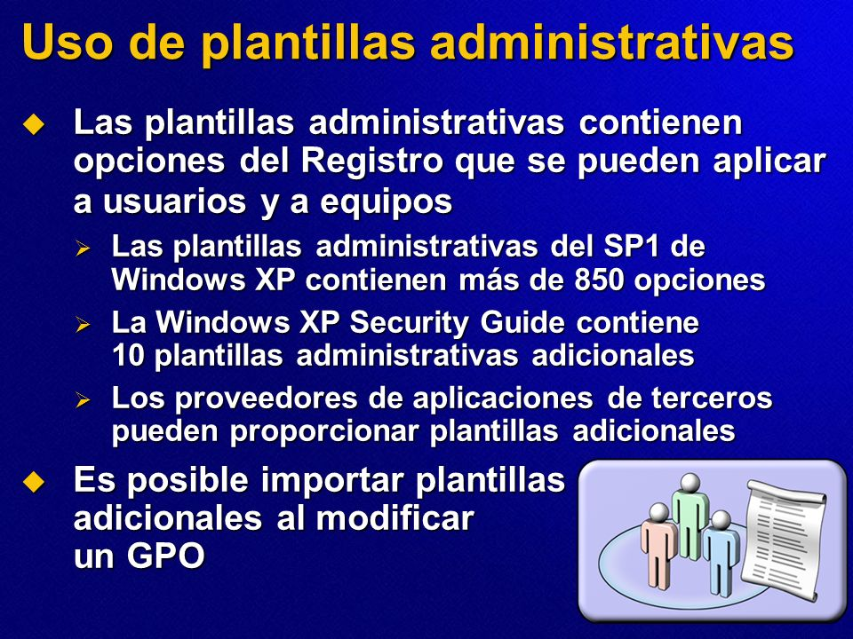 Uso de plantillas administrativas