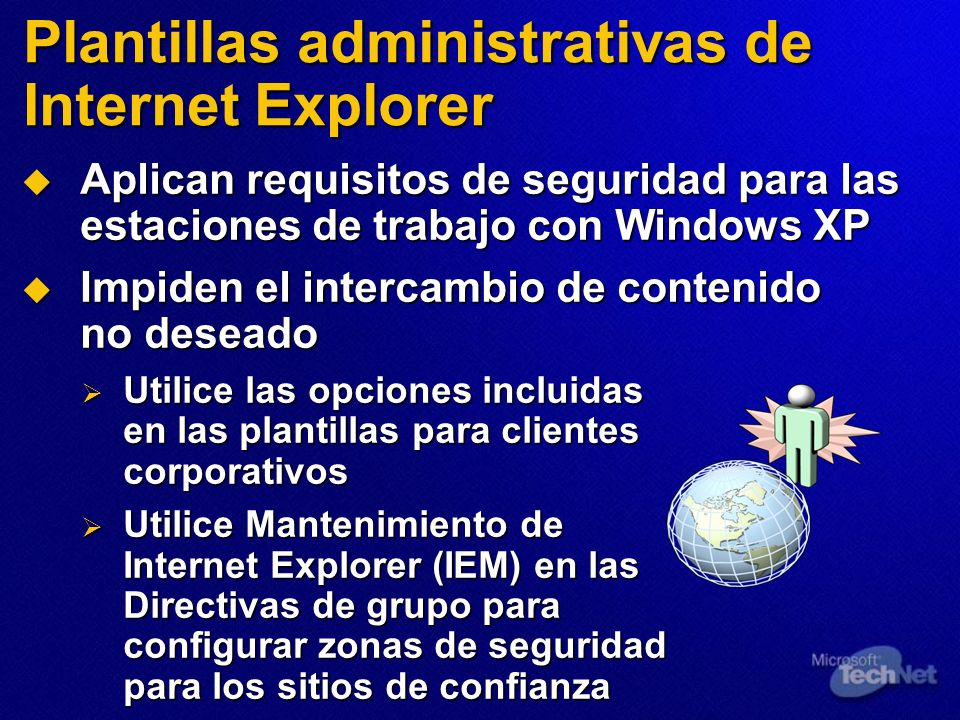 Plantillas administrativas de Internet Explorer