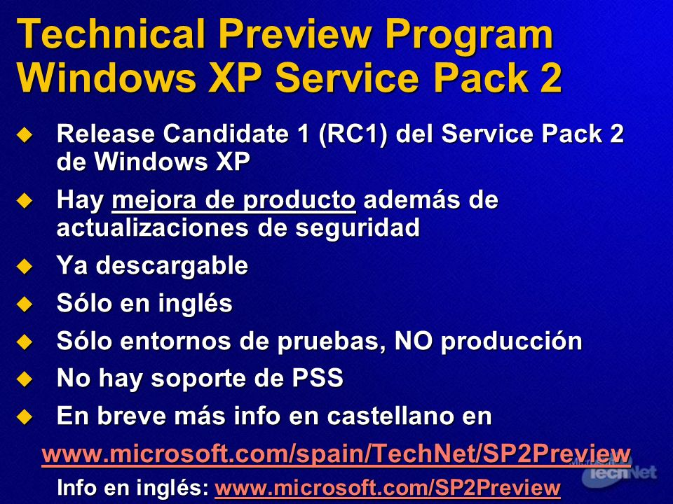 Technical Preview Program Windows XP Service Pack 2