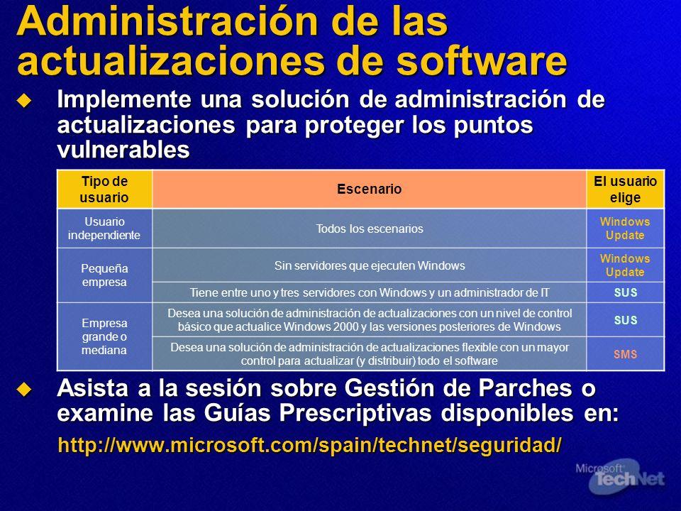 Administración de las actualizaciones de software