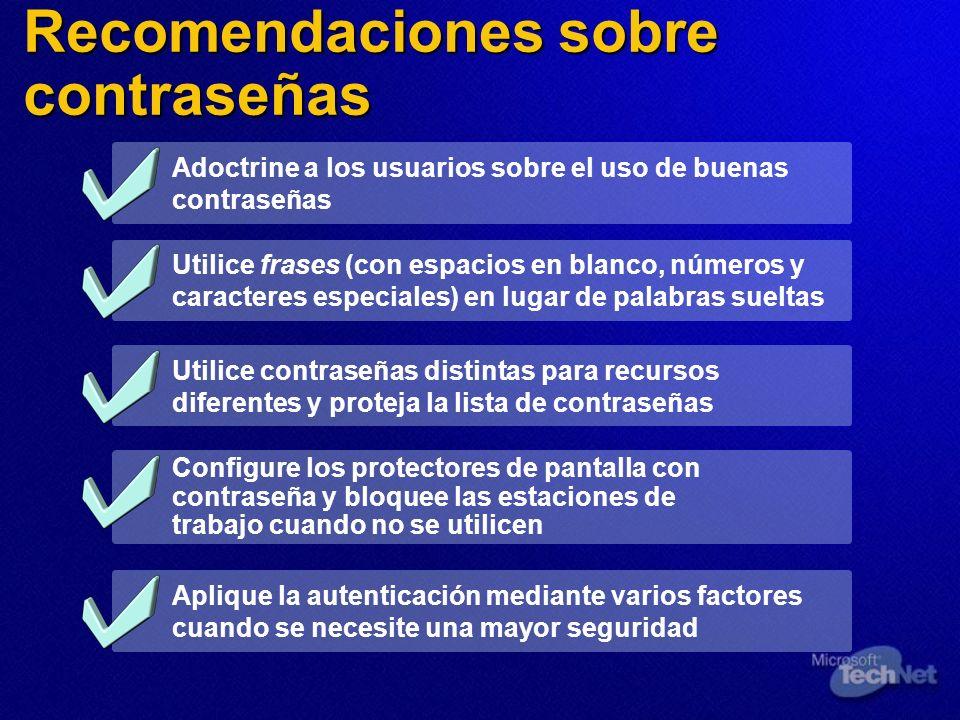 Recomendaciones sobre contraseñas