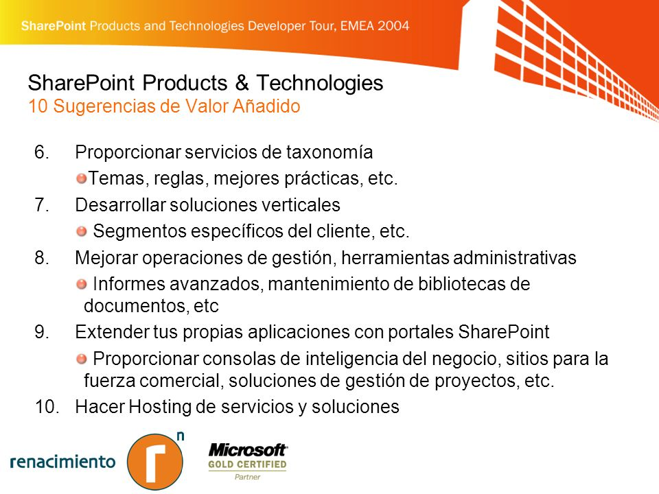 SharePoint Products & Technologies 10 Sugerencias de Valor Añadido