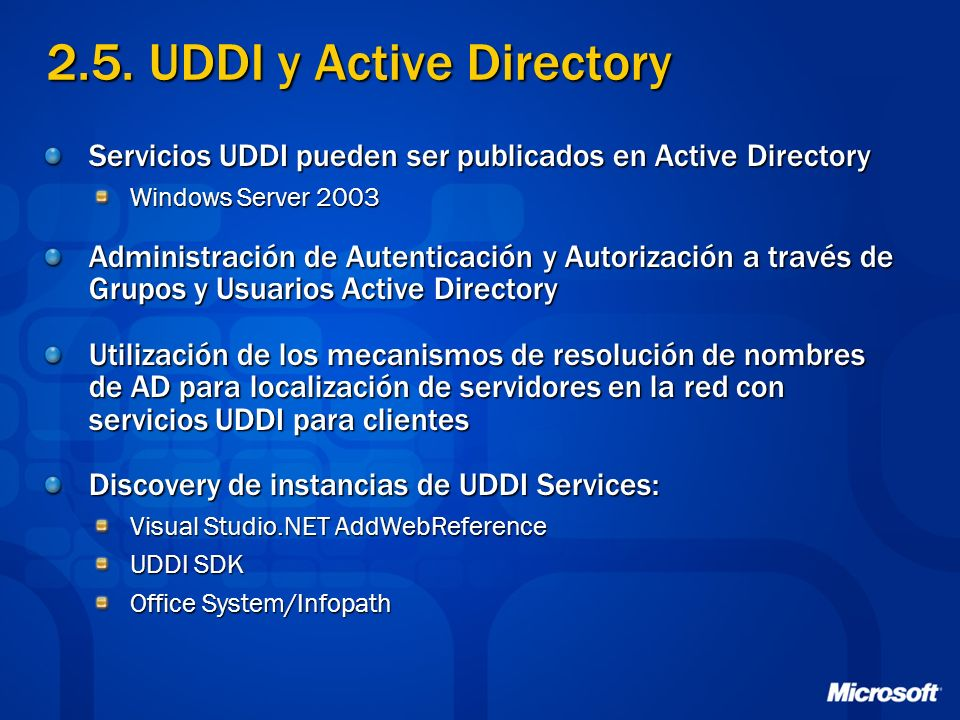 2.5. UDDI y Active Directory