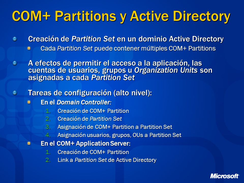COM+ Partitions y Active Directory