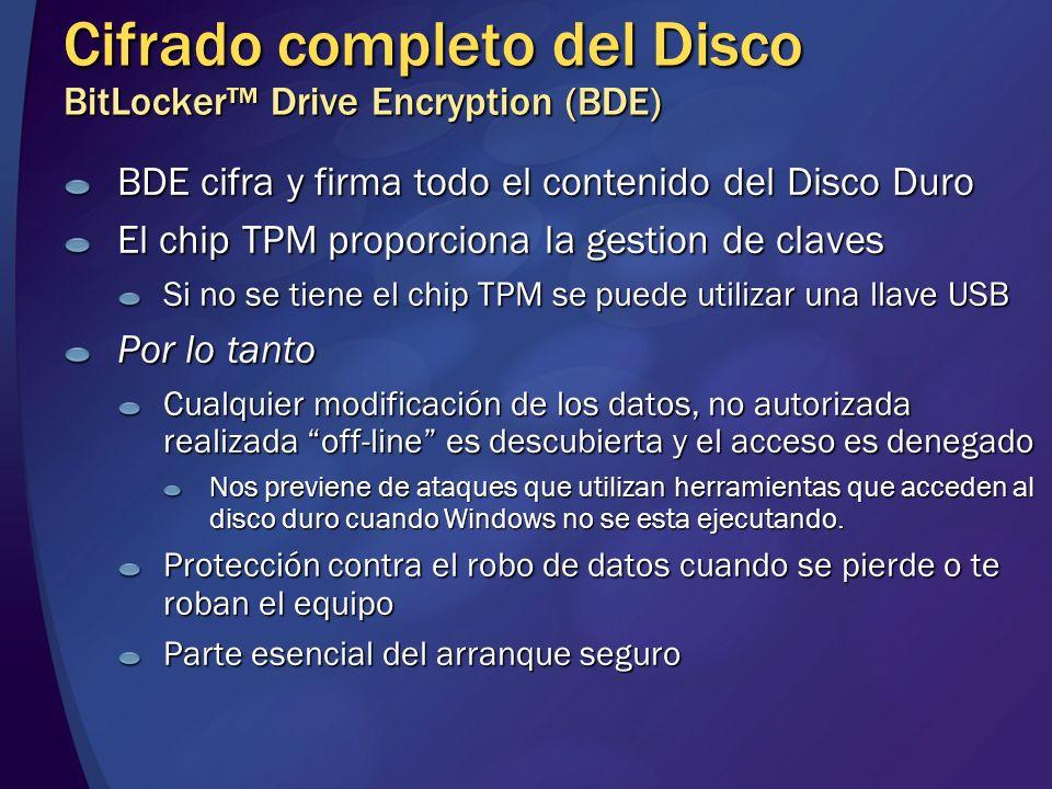 Cifrado completo del Disco BitLocker™ Drive Encryption (BDE)