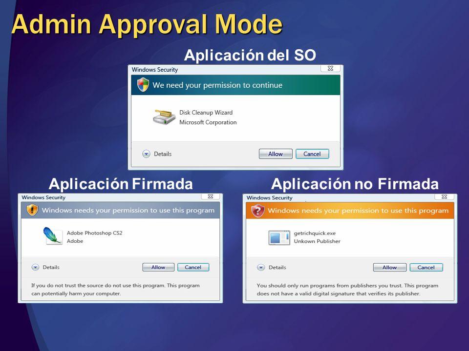 Admin Approval Mode Aplicación del SO Aplicación Firmada