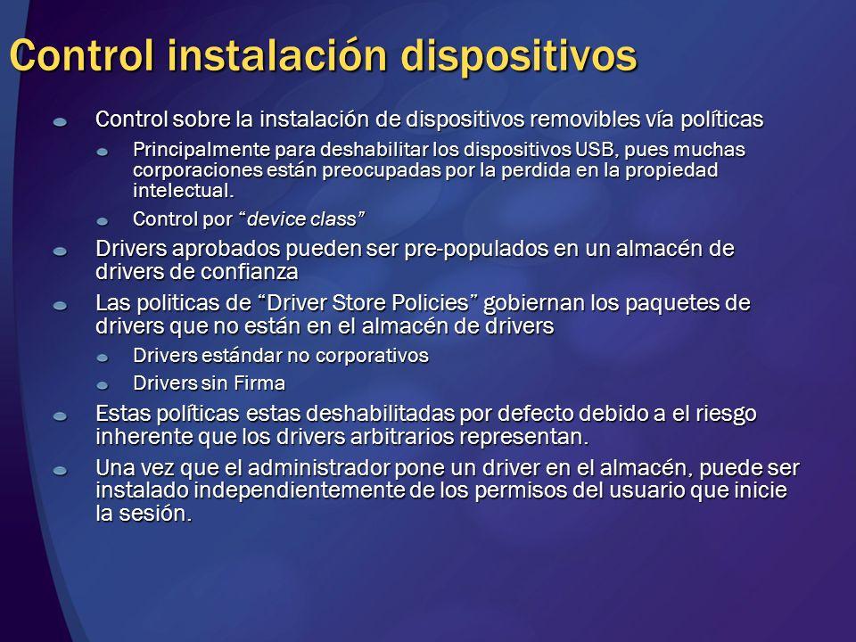 Control instalación dispositivos