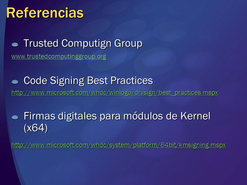 Referencias Trusted Computign Group Code Signing Best Practices