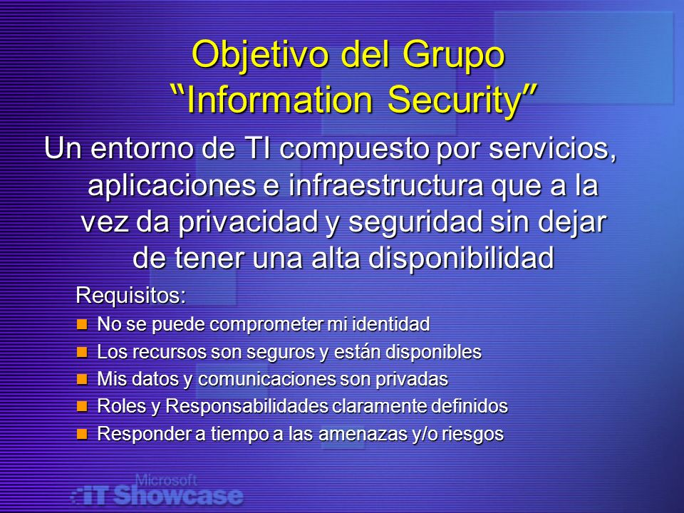 Objetivo del Grupo Information Security