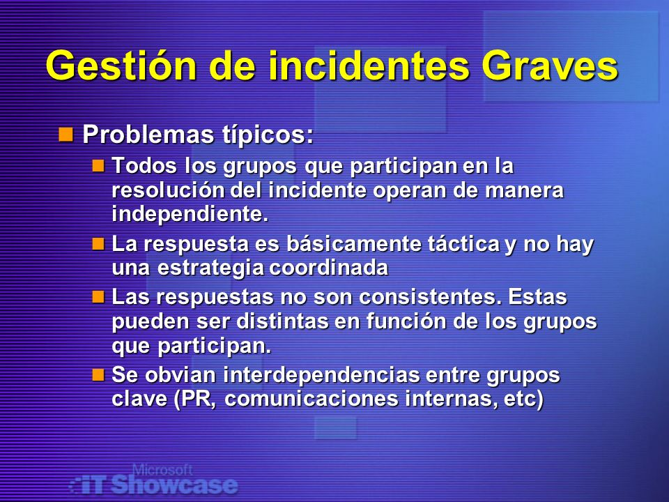 Gestión de incidentes Graves
