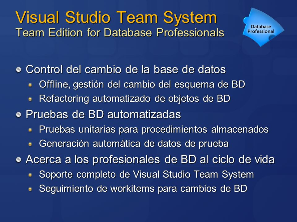 Visual Studio Team System Team Edition for Database Professionals